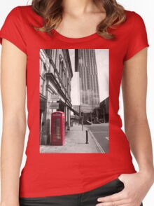 Red Telephone Box and Beetham Tower Women's Fitted Scoop T-Shirt