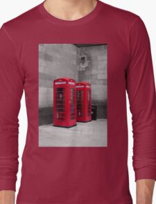 Two Traditional Red Telephone Boxes Long Sleeve T-Shirt