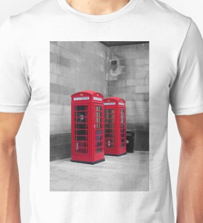 Two Traditional Red Telephone Boxes Unisex T-Shirt