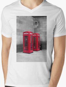 Two Traditional Red Telephone Boxes Mens V-Neck T-Shirt