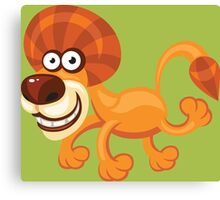 Funny running lion Canvas Print