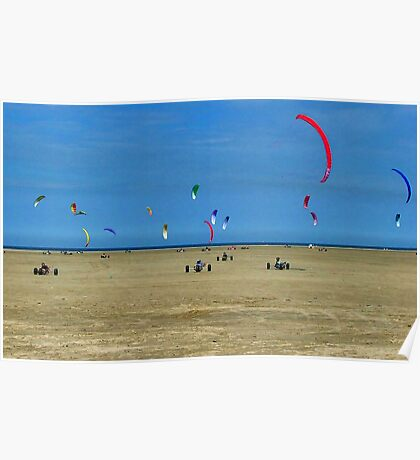 Kite buggies on the beach Poster