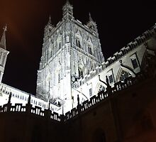 Gloucester Cathedral at night by Puddlejumper9
