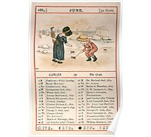 Kate Greenaway Almanack 1880 0012 June Poster