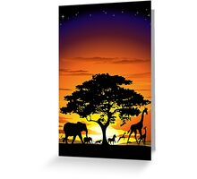 Wild Animals on African Savannah Sunset  Greeting Card