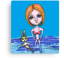 Selfie with Rabbit Canvas Print