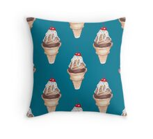 watercolor icecream popsicle seamless pattern Throw Pillow
