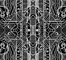 Black and White Tribal Geometric Pattern Print by DFLC Prints