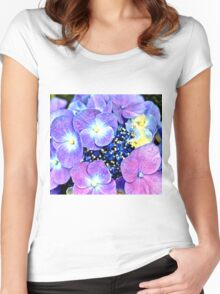 Summer Purple Flowers Women's Fitted Scoop T-Shirt