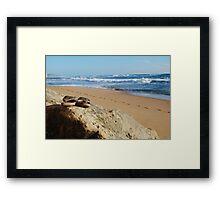 Desolate relaxing beach with flipflops Framed Print