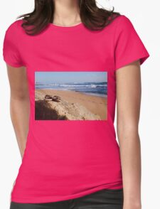 Desolate relaxing beach with flipflops Womens Fitted T-Shirt