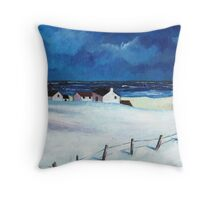 Snow at Balmedie Throw Pillow