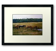 Mares and Foals Horse Pastel Painting Framed Print