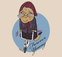 Grandma Riding a Scooter T-shirt by TsipiLevin