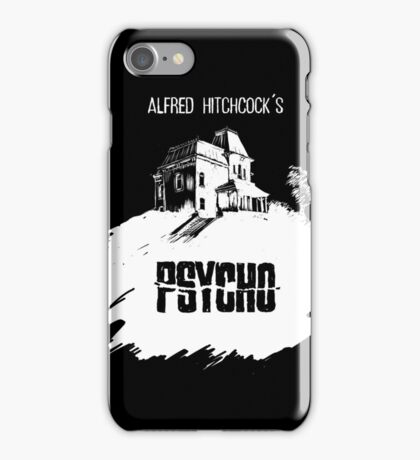 Alfred Hitchcock's Psycho by Burro! (black tee version) iPhone Case/Skin