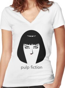 Pulp Fiction by burro Women's Fitted V-Neck T-Shirt
