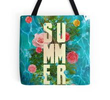 Summer collage with flowers and palm trees Tote Bag