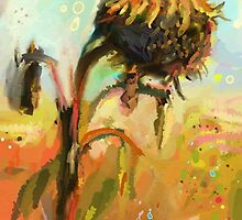 Agony of the dying sunflower. by Tarahala