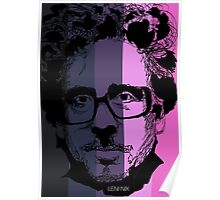 Tim Burton in stripy background! Poster