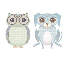 Cool Owl and Lanky Dog by Jean Gregory  Evans