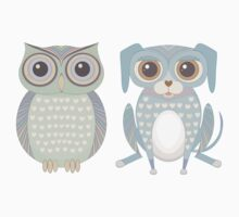 Cool Owl and Lanky Dog One Piece - Short Sleeve