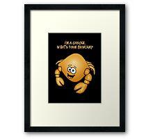 Zodiac Cancer cartoon crab. Framed Print