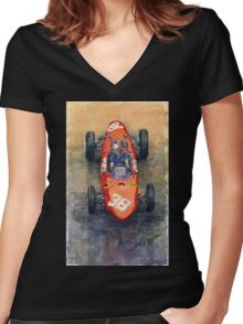 Ferrari Dino 156 1962 Monaco GP Women's Fitted V-Neck T-Shirt