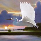 """Great White Egret at Sunrise"" by Charles  Wallis"