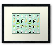 Kawaii Bento Box Print - Mint Framed Print