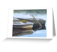 """The Pond Row Boats #3"" Greeting Card"