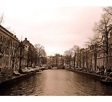 Somber Streetside Canal Photographic Print