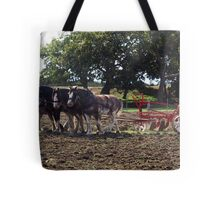 Four Clydesdales harrowing the field - Churchill Island, Easter 2010 Tote Bag