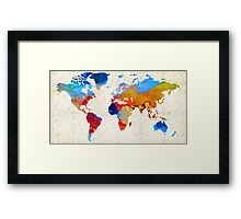 World Map 18 - Colorful Art By Sharon Cummings Framed Print