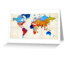 World Map 18 - Colorful Art By Sharon Cummings Greeting Card