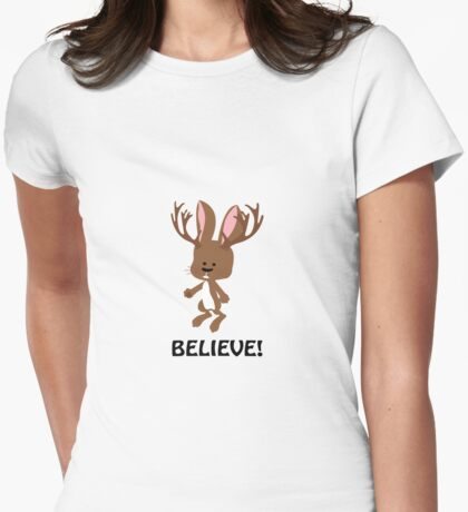 Believe! Cute Jackalope Womens Fitted T-Shirt
