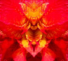 Red and yellow leaf creature by Marilyn Baldey