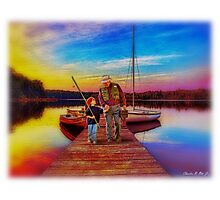 """""""Gone Fishing With Pap"""" Photographic Print"""