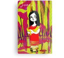 june & her crocodile Metal Print