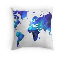 World Map 17 - Blue Art By Sharon Cummings Throw Pillow