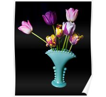 Tulips in a fancy vase Poster