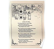 Miniature Under the Window Pictures & Rhymes for Children Kate Greenaway 1880 0019 Going to Tea Poster