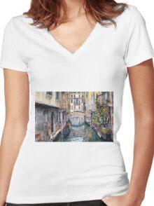 Italy Venice Trattoria Sempione Women's Fitted V-Neck T-Shirt
