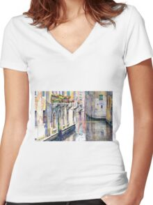 Italy Venice Midday Women's Fitted V-Neck T-Shirt