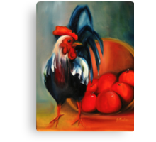 The Rooster did it Canvas Print