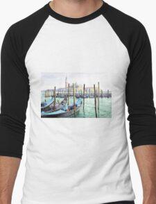 Italy Venice Gondolas Parked Men's Baseball ¾ T-Shirt