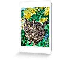 Cat and Daffodils Greeting Card