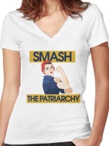 SMASH the patriarchy rosie riveter Women's Fitted V-Neck T-Shirt