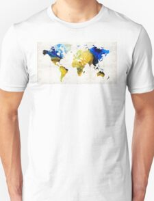World Map 16 - Yellow And Blue Art By Sharon Cummings T-Shirt