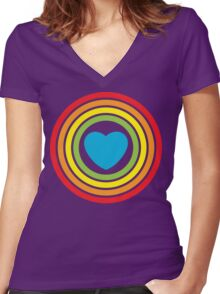 vintage rainbow heart Women's Fitted V-Neck T-Shirt