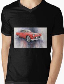 Ford Thunderbird 1955 Red Mens V-Neck T-Shirt